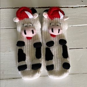 Cow Socks Funny Gift Grip Bottom Women's Knit New